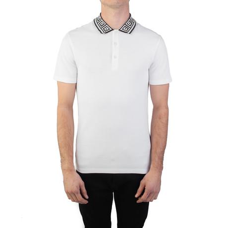 Cotton Pique Baroque Collar Polo Shirt // White (Small)