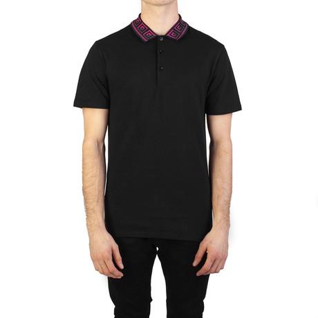 Cotton Pique Baroque Collar Polo Shirt // Black (S)