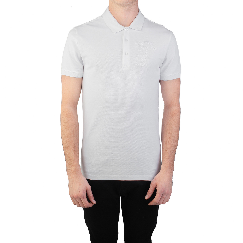 132b0b35a Cotton Pique Embroidered Medusa Polo Shirt    White (Small ...