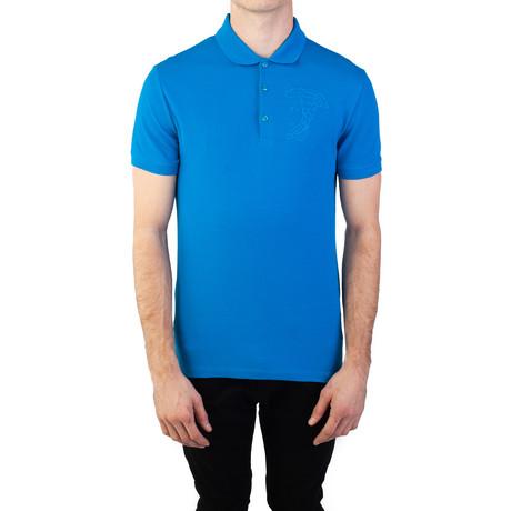 Cotton Pique Embroidered Medusa Polo Shirt // Aqua Blue (Small)