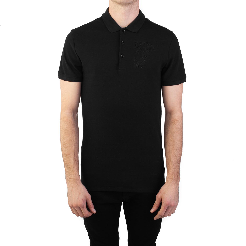 3ef889dc Cotton Pique Embroidered Medusa Polo Shirt // Black (Small ...