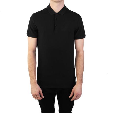 Cotton Pique Embroidered Medusa Polo Shirt // Black (Small)