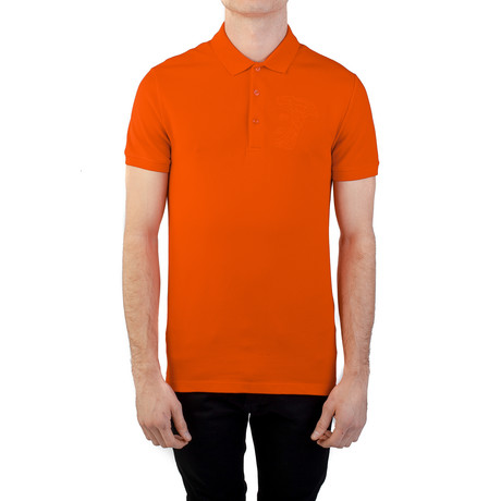 Cotton Pique Embroidered Medusa Polo Shirt // Orange (S)