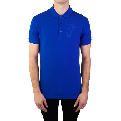 Cotton Pique Embroidered Medusa Polo Shirt // Royal Blue (Small)