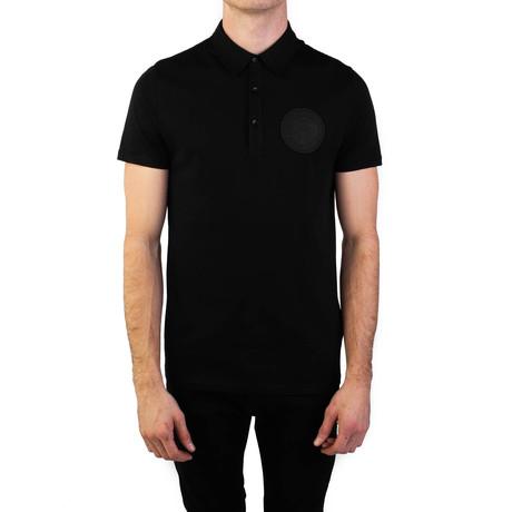 Pima Cotton Circular Medusa Polo Shirt // Black (S)