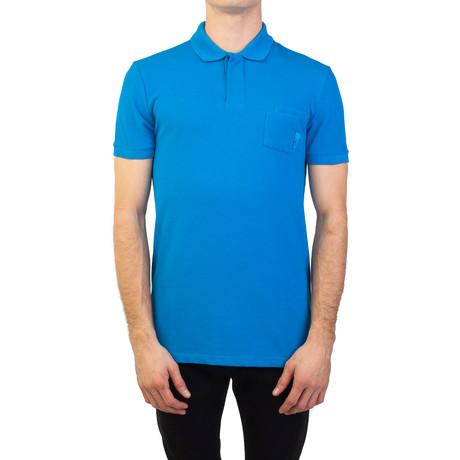 Cotton Pique Medusa Pocket Polo Shirt // Aqua Blue (S)