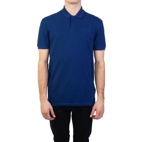 Cotton Pique Medusa Pocket Polo Shirt // Royal Blue (Small)