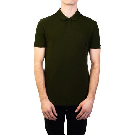 Cotton Pique Medusa Pocket Polo Shirt // Military Green (S)
