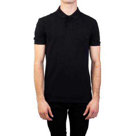 Cotton Pique Medusa Pocket Polo Shirt // Black (Small)