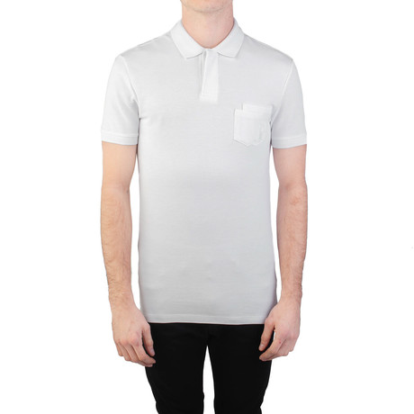 Cotton Pique Medusa Pocket Polo Shirt // White (S)