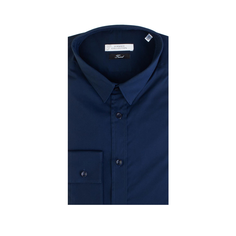 83fd4cf9 Cotton Dress Shirt // Navy Blue (IT: 38) - Versace - Touch of Modern