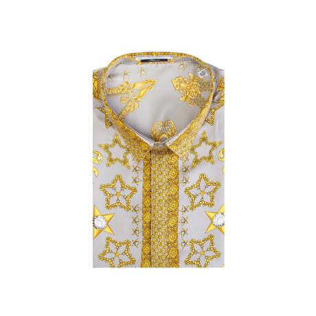 Silk Baroque Dress Shirt // Gray + Gold (IT: 36)