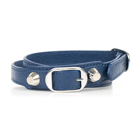 Women's Leather Studded Two Loop Bracelet // Blue