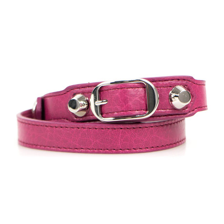 Women's Leather Studded Two Loop Bracelet // Silver + Pink