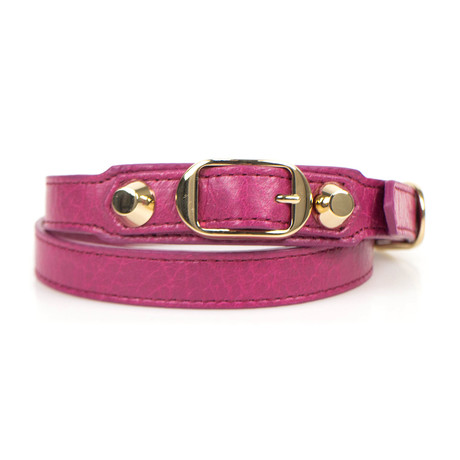 Women's Leather Studded Two Loop Bracelet // Gold + Pink