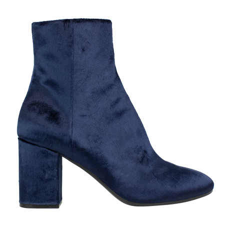 Women's Velvet Block Heel Ankle Boots // Blue (US: 5)