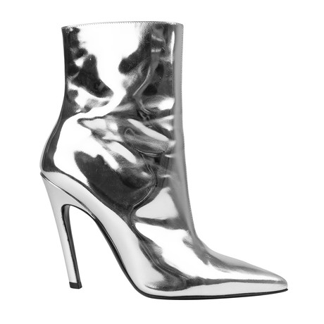 Women's Patent Leather Slash Heel Ankle Boots // Silver (US: 5)