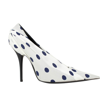 Women's Knife Polka Dot Satin + Leather Pumps Heels // White (US: 5)