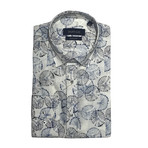 Atina Shirt // White + Navy Blue (XS)