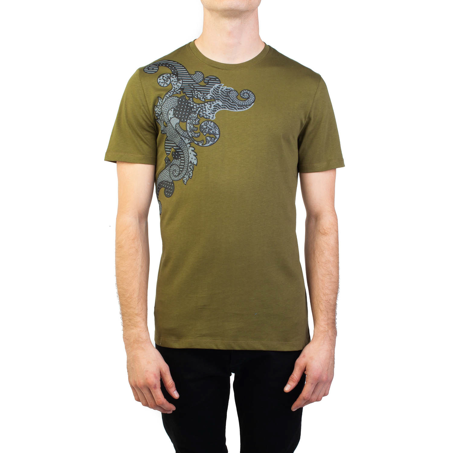 5c1e728c Baroque Graphic T-Shirt // Military Green (Small) - Versace Sweaters ...