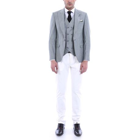 Rudolf 3-Piece Slim-Fit Suit // Gray + White (Euro: 44)