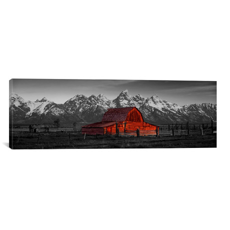 "Barn Grand Teton National Park WY USA Color Pop // Panoramic Images (36""W x 12""H x 0.75""D)"