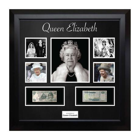 Signed + Framed Currency Collage // Queen Elizabeth