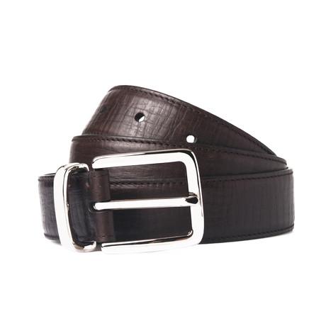 Textured Leather Belt // Dark Brown // 39.3 Inches