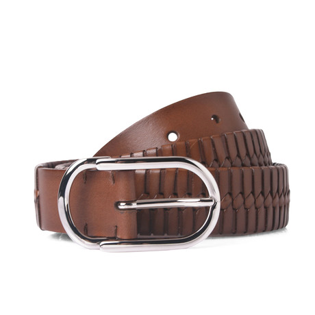 Textured Leather Belt // Brown // 37.5 Inches