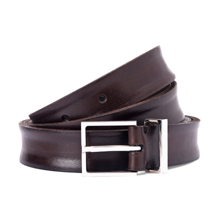Smooth Leather Belt // Dark Brown // 37.5 Inches