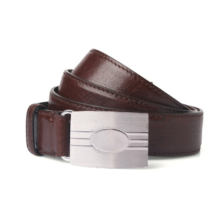 Leather Belt + Silver Buckle // Brown // 41.3 Inches