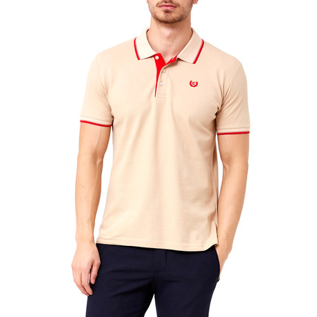 Contrast Stitch Polo // Sand + Red (S)