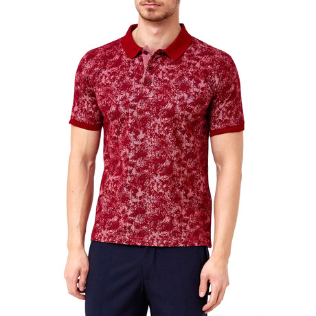 Flower Pattern Polo // Claret Red (S)