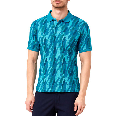 Feather Pattern Polo // Turquoise Green (S)