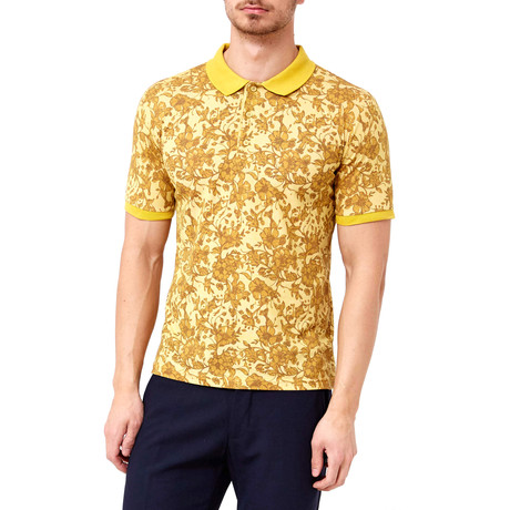 Floral Vine Patter Polo // Yellow (S)