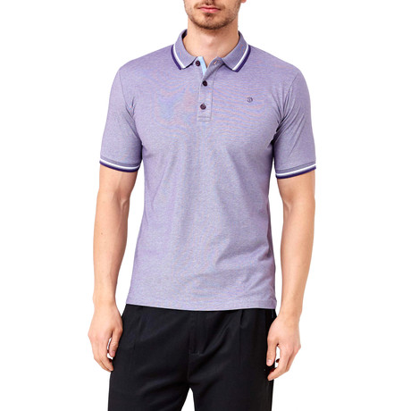 Contrast Stitch Polo // Purple (S)
