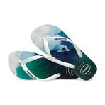 Hype Sandal // White + Navy Blue (US: 9-10)
