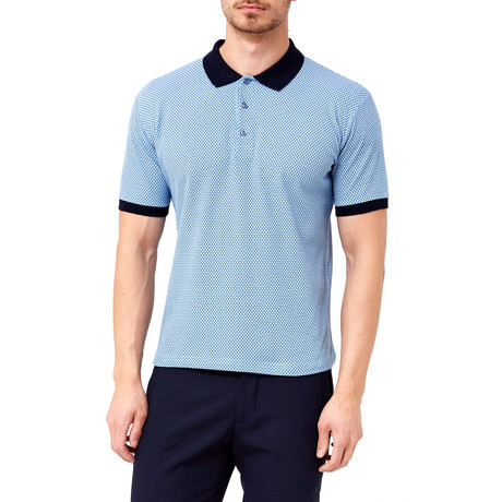 Two-Tone Honeycomb Polo // Blue (S)