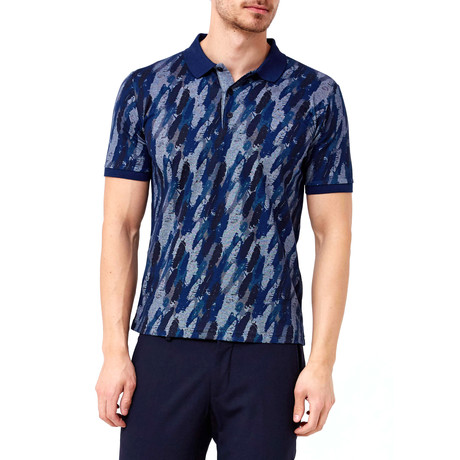 Feather Pattern Polo // Navy (S)