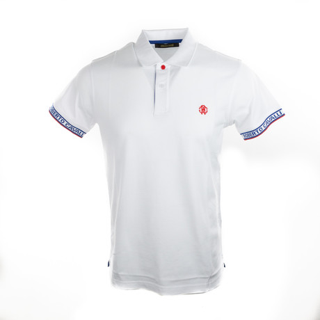 Logo Sleeve Polo // White + Blue (S)