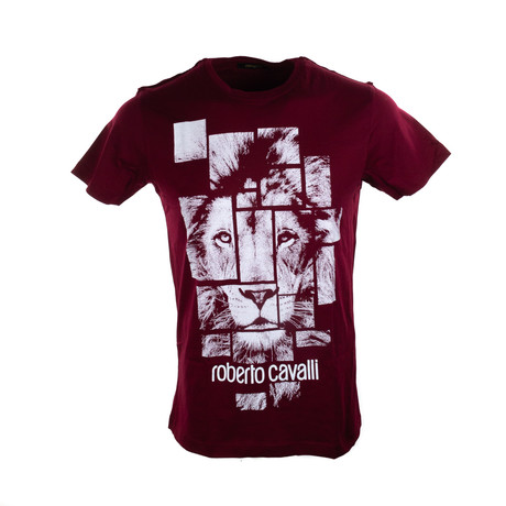 Lion Graphic T-Shirt // Burgundy (XL)