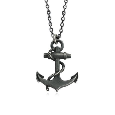 "Small Anchor Necklace (Length: 24"")"