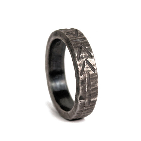 Tribal Design Etched Ring (Size: 8)