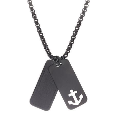 Anchor Dog Tag Duo Necklace // Black