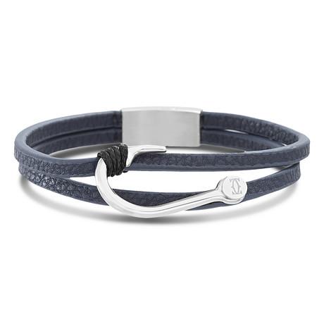 Double Strand Leather Fish Hook Bracelet // Blue