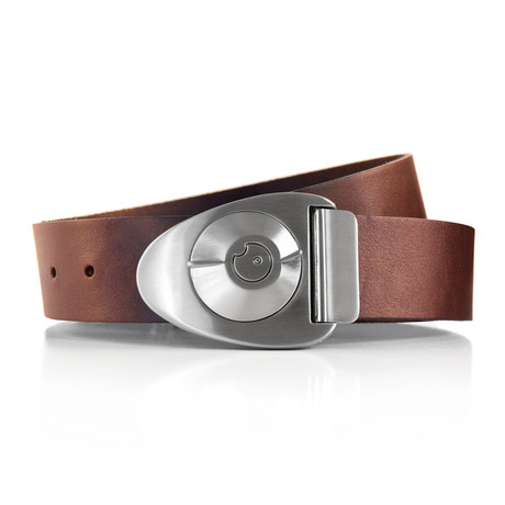 Satin Dial Belt // Brown (32)