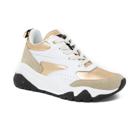 Leather + Mesh Sneaker // Gold (Euro: 35)