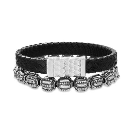 Beehive Square Braided Leather + Beaded Bracelet // Black // Set of 2