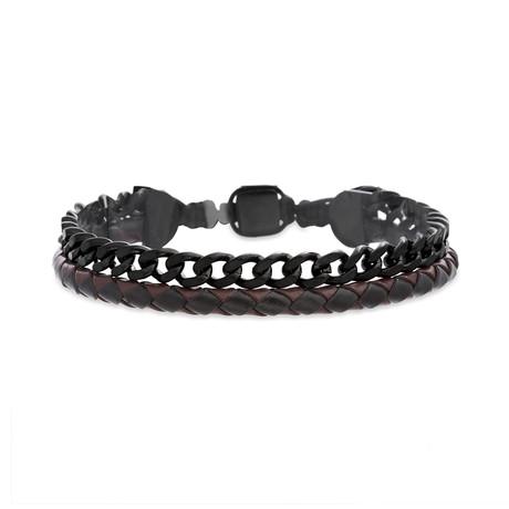 Braided Leather + Curb Chain Bracelet // Burgundy + Black