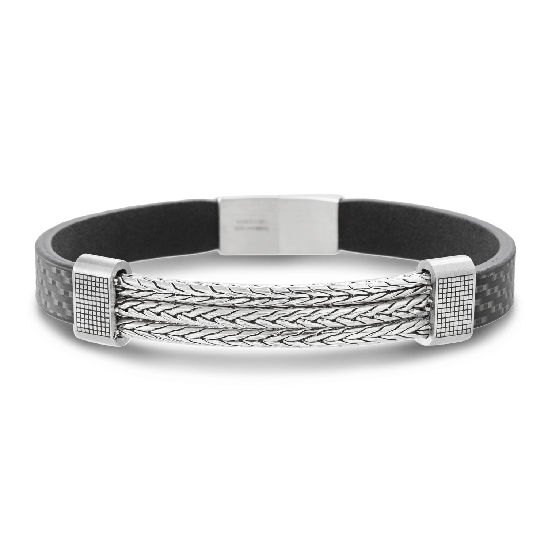 Rectangle Rondelle Triple Row Wheat Link Bracelet // Black